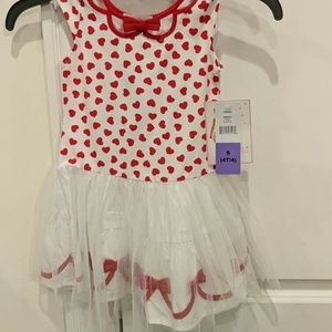 Heart printed red and white dress